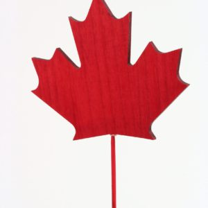 Wood Maple Leaf on stick - red