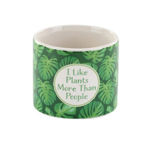 green witty ceramic planter with saying