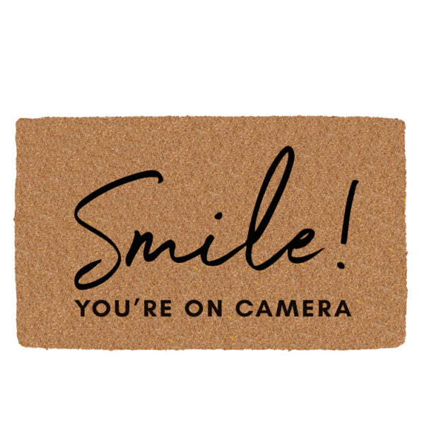 Smile you are on camera coir door mat