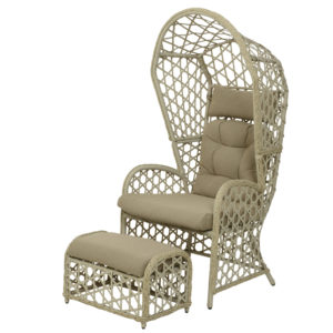 off white wicker chair and ottoman