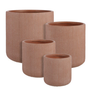 Nuovo round planter in 4 sizes pink clay