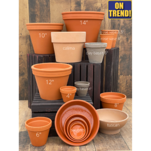 clay pots and saucers