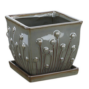 Square Ceramic Planter with Saucer