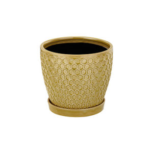 """Honeycomb Ceramic Planter with Saucer """