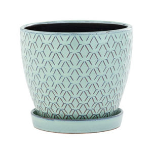 Aqua Ceramic Planter with Saucer