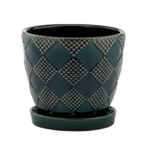 Emerald Ceramic Planter with Saucer