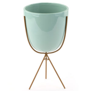 Green Ceramic Planter with Metal Stand