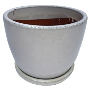 egg pot with attached saucer white