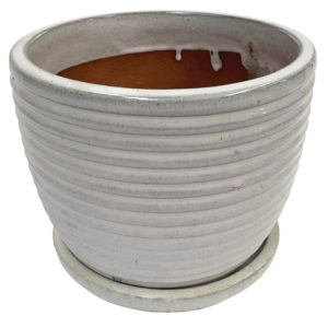 rippled egg pot with attached saucer white