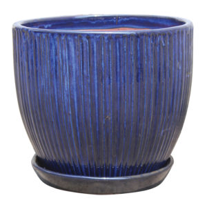 Lined Egg Pot with Attached Saucer Lapis