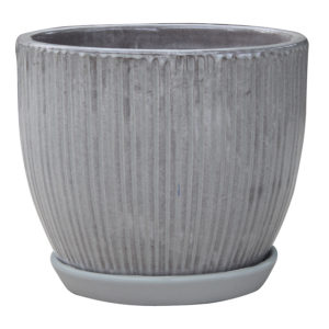 Lined Egg Pot with Attached Saucer grey