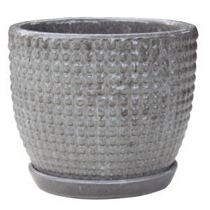 dotted egg pot grey