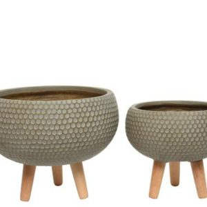 Honeycomb planter on legs taupe