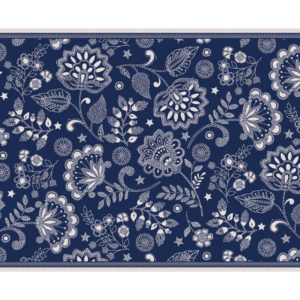 Embroidered Floral Blue 2 X 3 rug