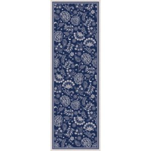 Embroidered Floral Blue 2 X 6 rug